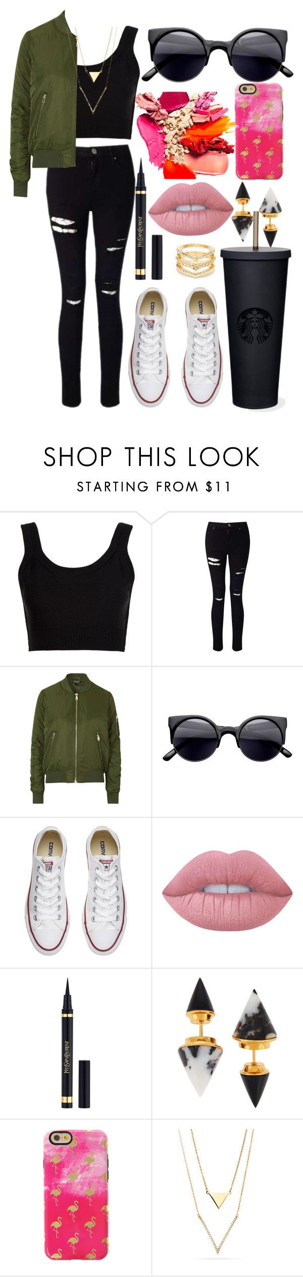 """""""Untitled #64"""" by graaceryyan ❤ liked on Polyvore featuring Calvin Klein Collection, Miss Selfridge, Topshop, Converse, Lime Crime, Yves Saint Laurent, Vita Fede, claire's and LULUS"""