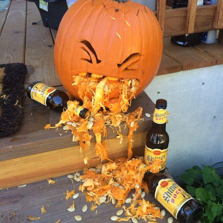 Puking drunk pumpkin Halloween pumpkin drunk on shiner bock Halloween decor pumpkin throwing up funny pumpkin carving
