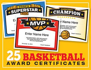 These basketball award certificate templates enable you to print 25 cool designs. Just personalize, print and present. In not time, keepsakes are made.