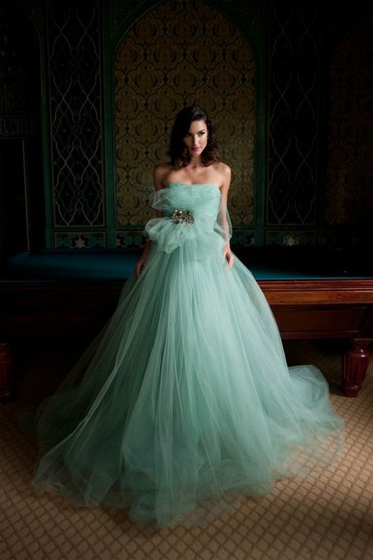 Mint tulle gown / karen caldwell