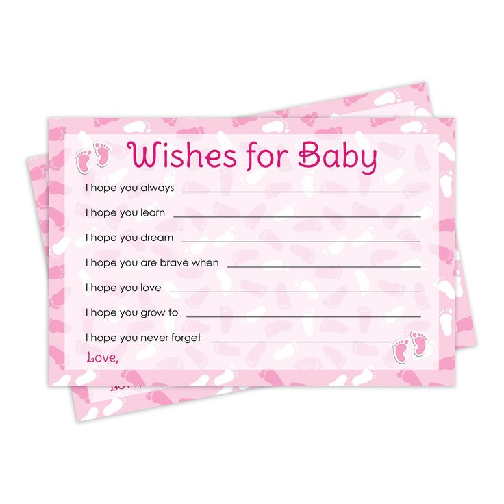 girl baby shower wishes for baby pink cards 20 cards baby shower
