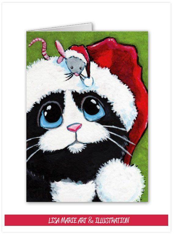 Tuxedo Cat & Festive Mouse Christmas Card by Lisa Marie Art & Illustration