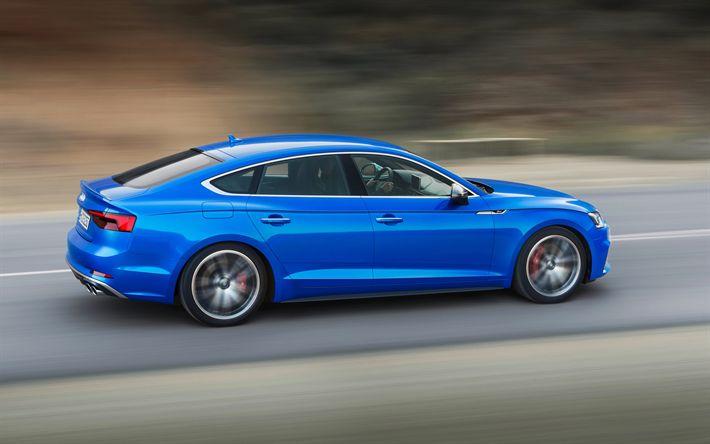 Hämta bilder Audi S5 Sportback, 2018, 4k, blå S5, nya bilar, nya S5, Tyska bilar, road, hastighet, Audi