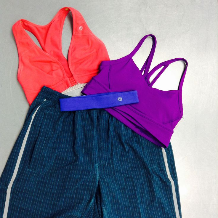 Lots of #lulu to choose from here! Work hard at the gym, not at staying in style! These sports bras are just what you need to sweat it out in style! // Lulu headband, $8 // Purple Lulu sports bra, M, $20 // Pink sports bra, SM, $20 // Men's lulu shorts, M, $22 // | www.platosclosetnewmarket.com