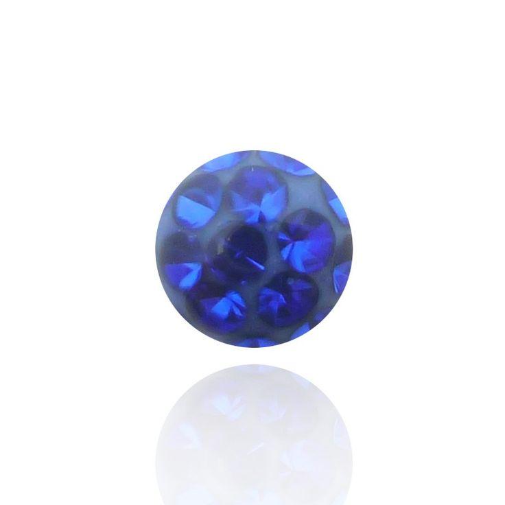 Eclat incomparable pour cette boule de piercing en cristal de swarovski de grande qualité recouverte d'un résine protectrice.