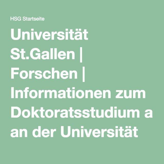 Universität St.Gallen | Forschen | Informationen zum Doktoratsstudium an der Universität St.Gallen