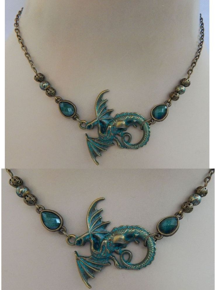 Green & Gold Dragon Strand Necklace. Winged Dragon – Supreme celestial power, to overcome him is to attain self-mastery and transform the spirit. Green & Gold Dragon Connector. Gold Chain. Gold & Green Connectors. | eBay!