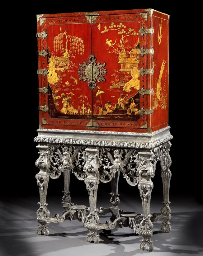 A Rare William And Mary Period Scarlet Japanned Cabinet On An Elaborately  Carved Silver Gilt Stand