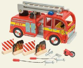 The Le Toy Van Fire Engine Set is a big red painted wooden fire engine ideal for the Papo or Budkins Fireman ranges, and a perfect addition to the Le Toy Van Fire Station Set. The set includes a fire engine with a turning, extendable ladder as well as all the accessories as shown. No assembly is required.