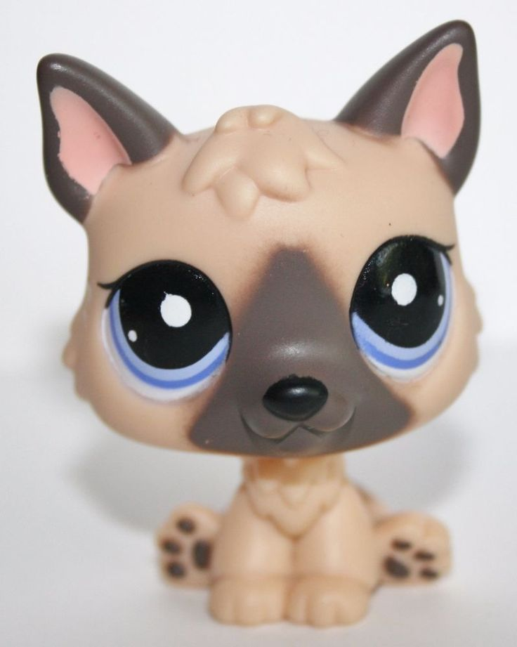 Littlest Pet Shop #1800 German Shepherd Dog Tan Brown Puppy with Purple Eyes LPS #Hasbro