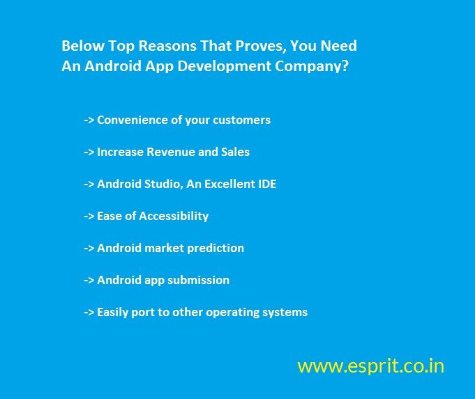 There are some top reasons that proves that you need an Android App Development Company along with expert android app developers. http://www.esprit.co.in/services/android-app-development/
