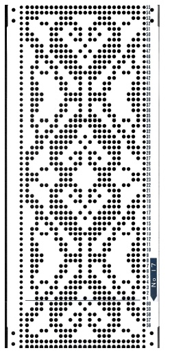 Brother 820 Knitting machine Punchcard number 17 http://www.needlesofsteel.org.uk/