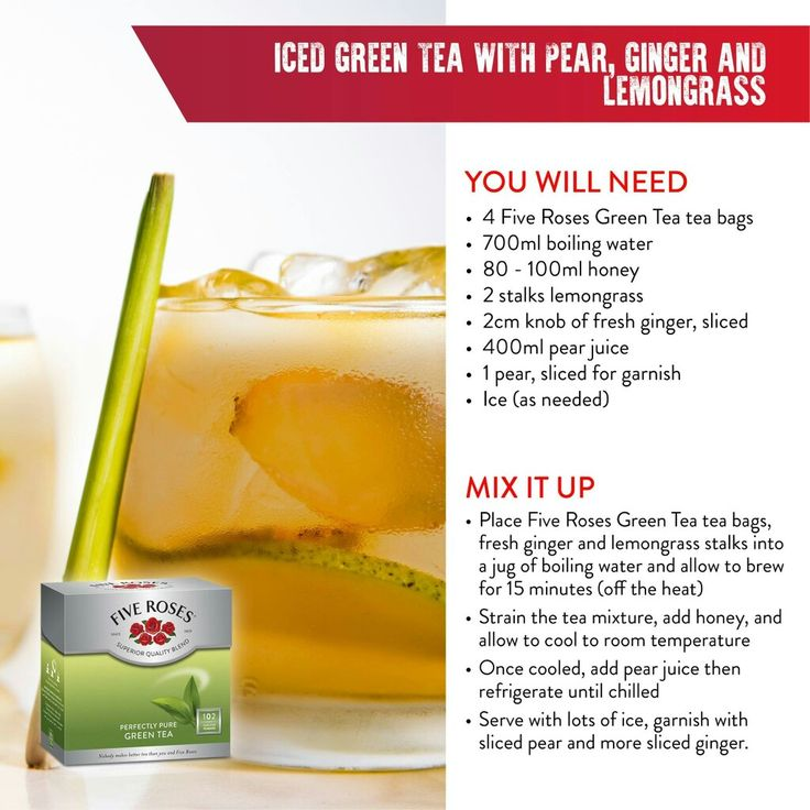 Iced Green tea with pear ginger and  lemongrass