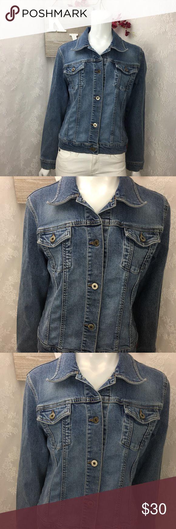 Guess Jean Denim jacket Size Large Women's guess denim jacket button down front pockets Bust 18 Length 20 Sleeve 24 Guess Jackets & Coats Jean Jackets