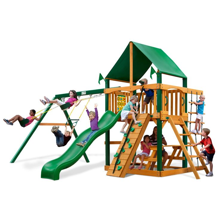 Gorilla Playsets Chateau Deluxe Wood Swing Set - 01-0003-TS-1