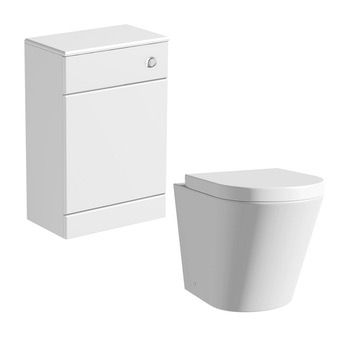 Arte back to wall toilet with seat and Sienna white unit