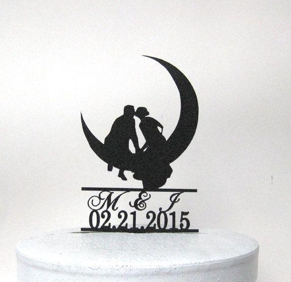 Custom Wedding Cake Topper  Kissing on the Moon by Plasticsmith