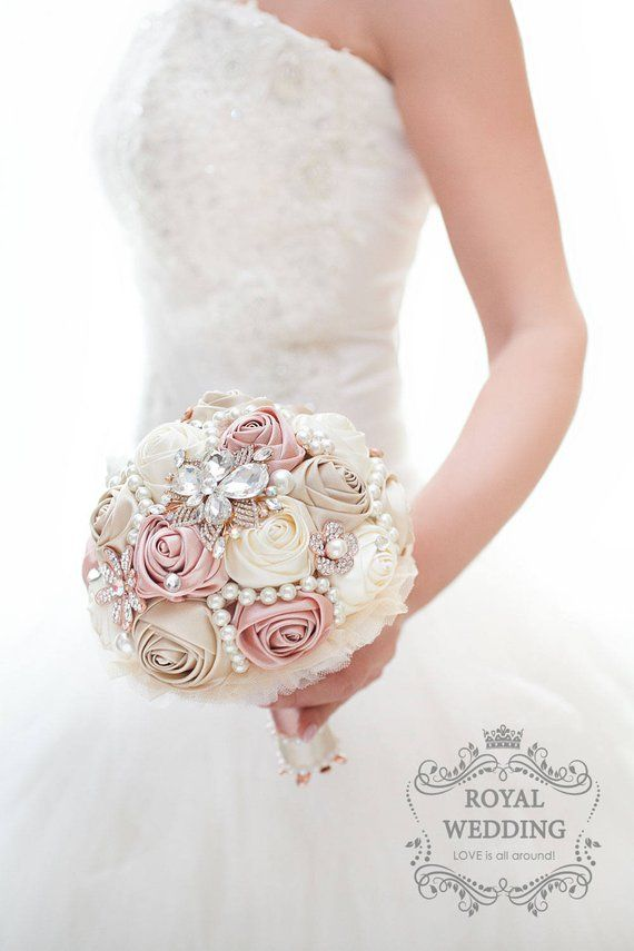 Jeweled Ivory Gold Brooch Bouquet Bridesmaid Wedding Crystal