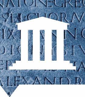 Begrijp het beeldmerk van Grieken en Romeinen (3000 v. Chr. - 500 n. Chr.)   Op de voorgrond zie je een Griekse tempel en op de achtergrond een Latijnse tekst. Samen symboliseren ze de Grieks-Romeinse cultuur, die zich over Europa heeft verspreid.