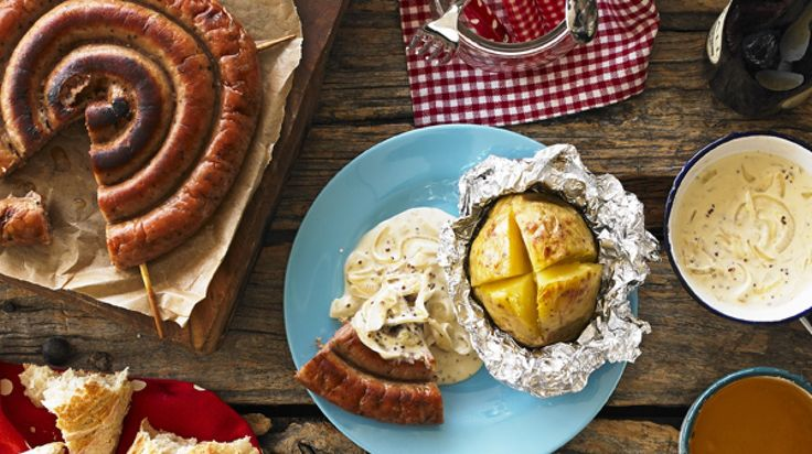 Camp Fire Sausages in Cider Sauce ~ Cumberland sausage ring in a glaze of honey, mustard, cider, onion, & yogurt ~ #Bonfire night   recipe from Yeo Valley Family Farm (UK)