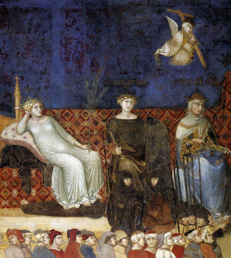 Амброджо Лоренцетти. Аллегория доброго правления. Фреска, деталь. Мир, Сила, Благоразумие. 1337-1339. Сиена, Палаццо Пубблико.