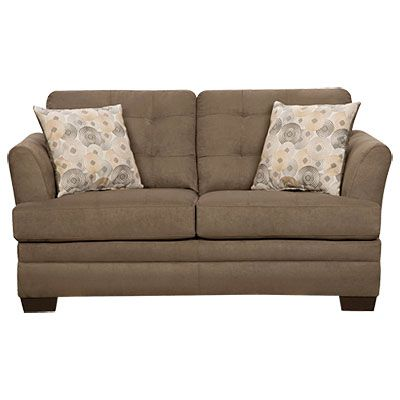 Simmons 174 Velocity Shitake Loveseat With Gigi Pillows At