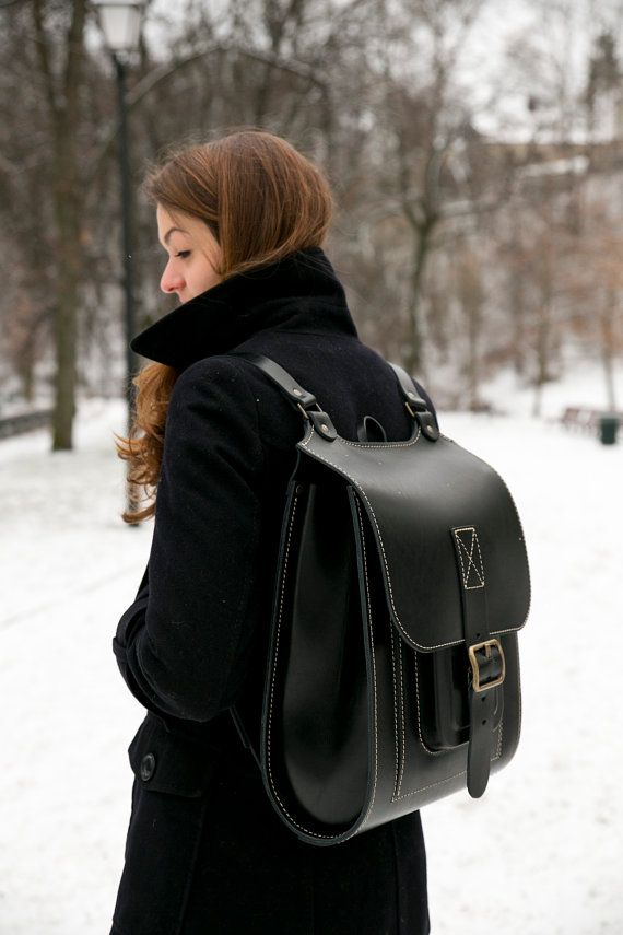 Black Leather backpack 15.6 Big handmade satchel by InBagWeTrust