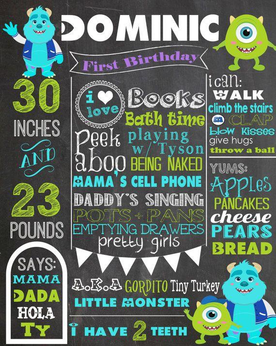 Custom Birthday Chalkboard - Monster's Inc - Monster's University- Blue- Green - Purple - Mikey