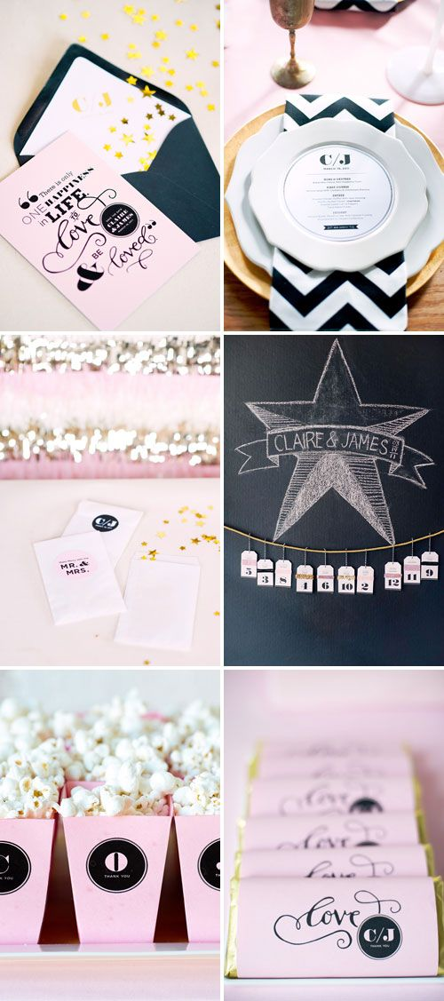 lovely black pink and gold wedding