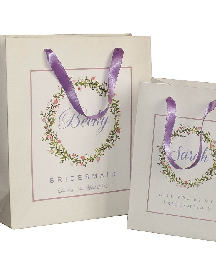 Purple Bridesmaid Gift Bags personalized bridesmaid gift bags in two sizes