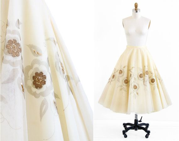 vintage 1950s skirt / 50s wedding dress / Buttercream Tulle and Sequins Ballerina Wedding Skirt