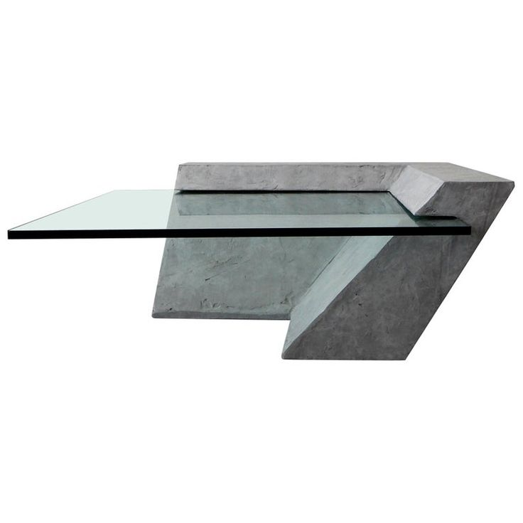 Minimalist Cantilevered Faux Concrete Plaster and Glass Coffee Table