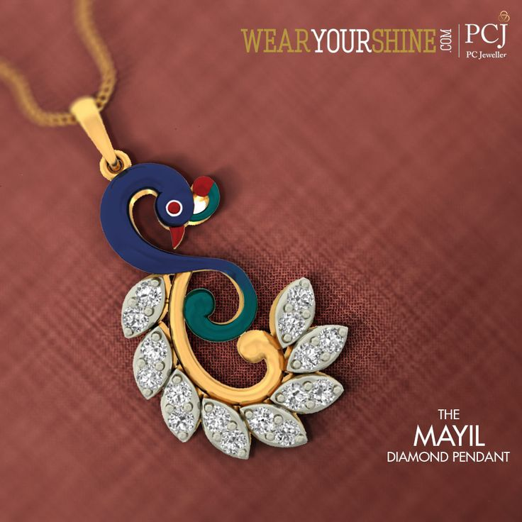 """Dance like a Peacock with this elegant """"Mayil Diamond Pendant"""" available online at WearYourShine.com"""