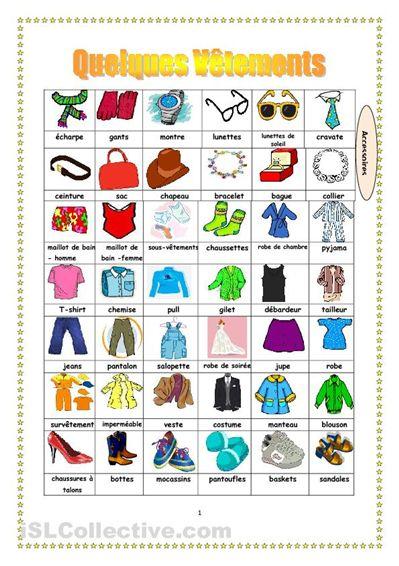 Les vêtements fiches - iSLCollective.com – Fiches pédagogiques gratuites                                                                                                                                                      Plus