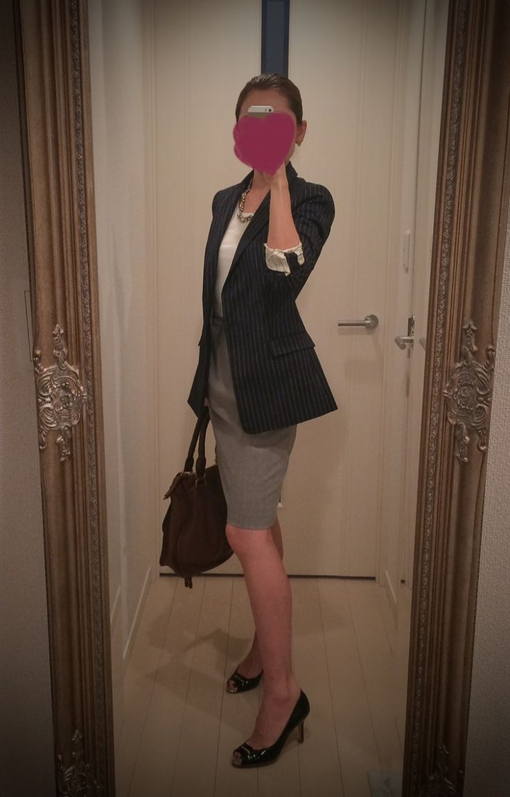 White blouse + Black striped coat + gray tight skirt + black heels + brown bag - http://ameblo.jp/nyprtkifml