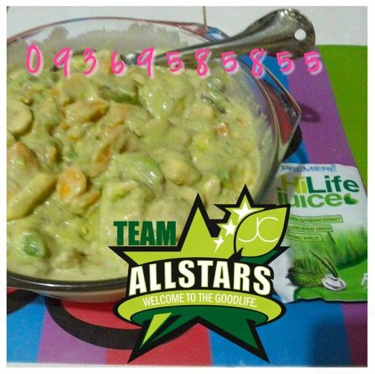 Super Duper Yummy and Healthy Fruit Salad made with Hilife Juice! Whaaaat?! Yes! Hilife Juice! Hilife Juice consist of Guyabano/Soursop extract, Organic Barley and Organic Wheatgrass! No need for sweetener! Taste soooo Delicious! Superb!. Im sure kids would lovet!  #jcpremiereallstars #jcpremiere #glutafit #omnisoap #health #healthiswealth #Godgotme #gellofjcpremiere