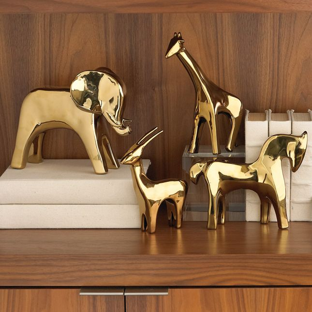 These golden animals add the perfect mid-century touch to a chic nursery.
