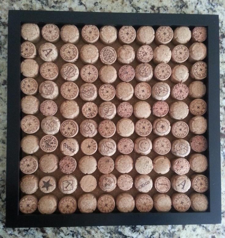 Framed Champagne Cork Board Wall Decor 38 00 Via Etsy