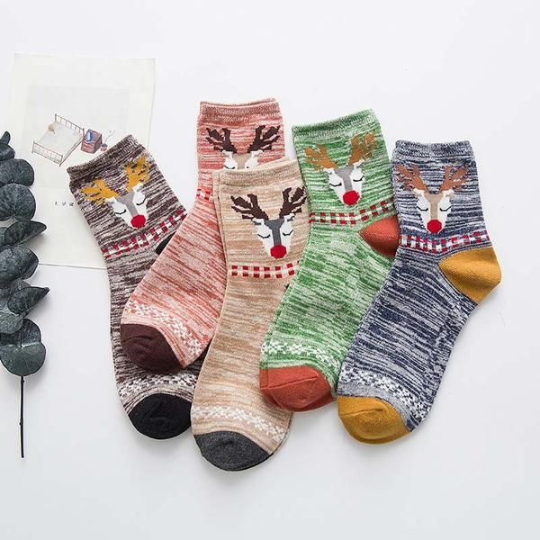 Christmas Deer Socks - 5 Pairs, Cool Novelty Socks for Women #sockpainter #Christmasgift