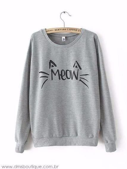 17ac3c42d60 Casaco Gato Meow Blusa-tumblr-feminina Moletom Promoção