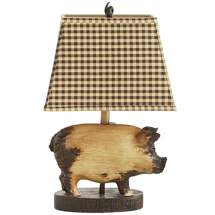 34 best lamps table lamps images on pinterest desk lamp fashioned with a distressed pig figure curly tail finial and checkered shade it offers a chic farmhouse feel to end tables nightstands and reading mozeypictures Choice Image