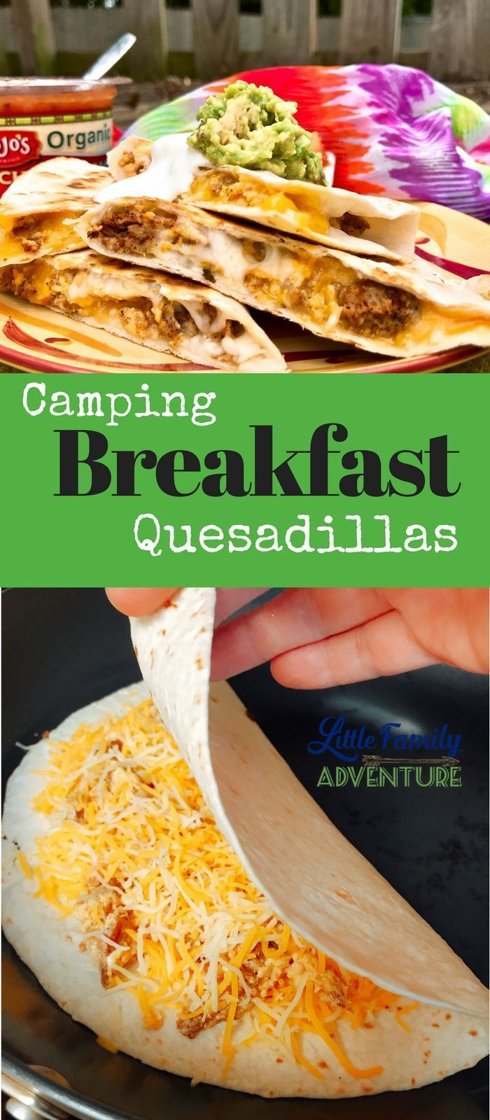 Camping Breakfast Quesadillas - cheesy goodness that sound good any time of day so why not for breakfast. Chorizo, eggs, salsa and lots of cheese #ad #cincodemayo #EggBoatsRecipe-Cheese