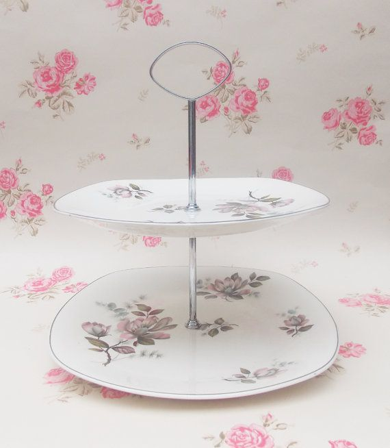 Perfect for a Tea Party! Two Tiered Cake Stand, Midwinter Stylecraft, 'Kashmir' Pattern, China Cake Stand - 1960s by CupfulofTrinkets, £12.50