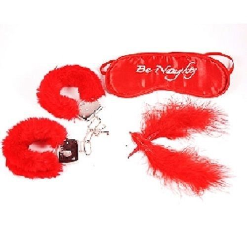 Valentine Bondage Kit - Red Blind Fold, Handcuffs & Feather-Fast Shipping