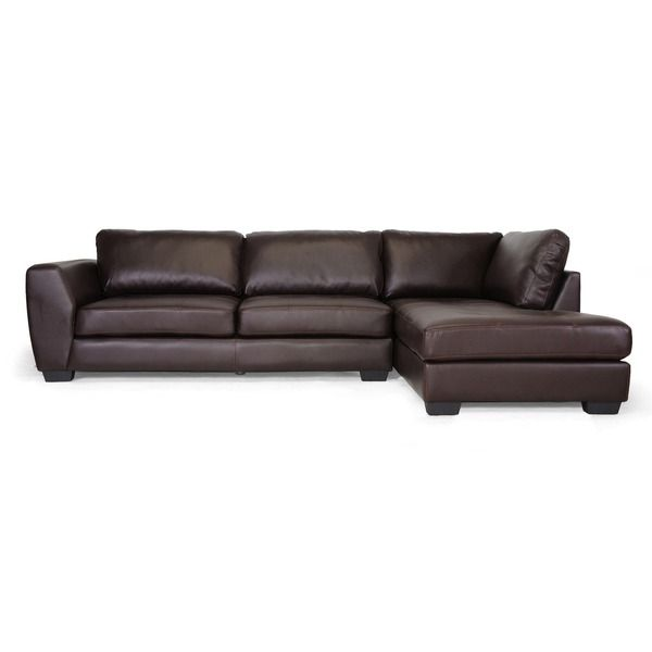 Baxton studio orland brown bonded leather modern sectional for Flexsteel 4 piece sectional sofa with right arm facing chaise in brown