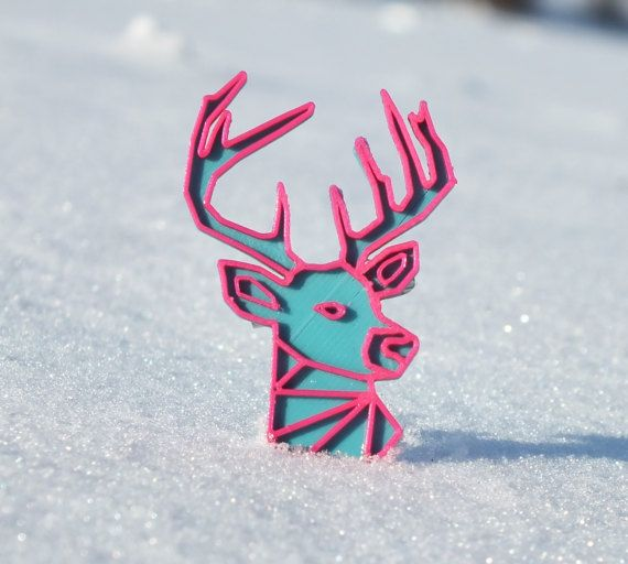 3D printed Deer detail turquoise blue/magenta by 3lobit on Etsy