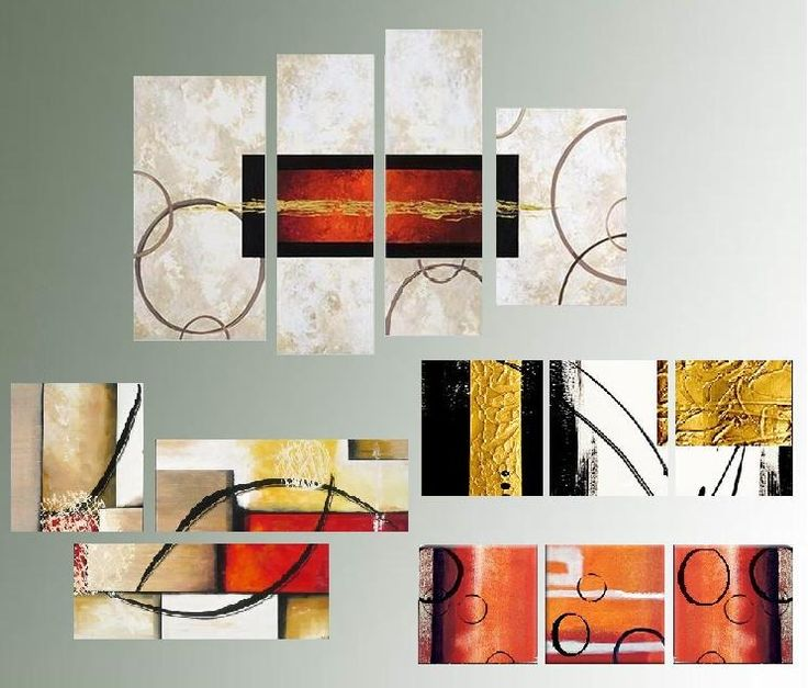 Cuadros tripticos abstractos modernos texturados for Imagenes cuadros abstractos modernos