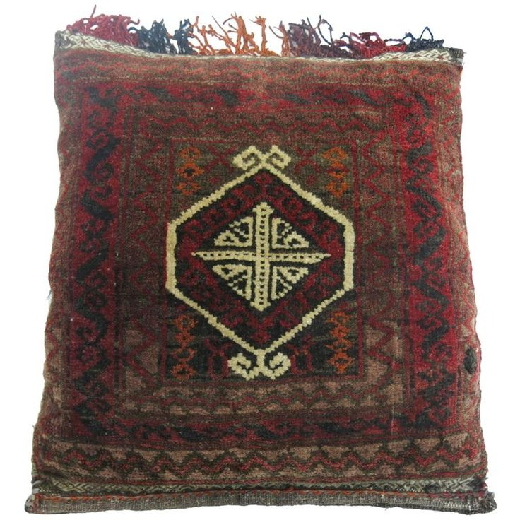 Afghan Balouch Rug Pillow | From a unique collection of antique and modern central asian rugs at https://www.1stdibs.com/furniture/rugs-carpets/central-asian-rugs/