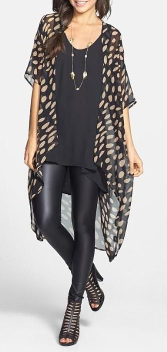 pleather leggings + tshirt + bohemian sheer printed kimono
