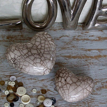 Raku Pottery Heart by Cavania